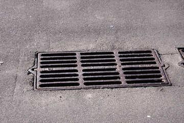 Storm sewage on the asphalt №865
