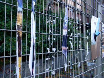 Fragments posters on the fence №240