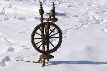 Distaff oldest unrestored on snowy background №688