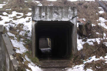 Concrete square tube-pass below the railway embankment №801