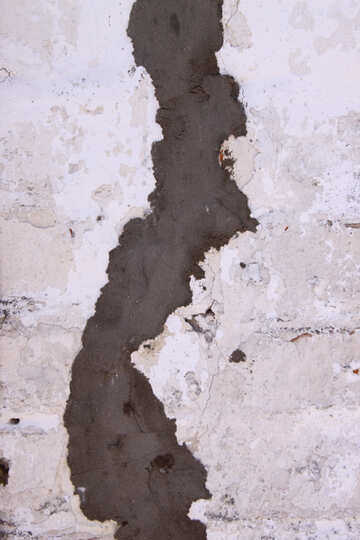 The crack in the masonry cement smeared №813