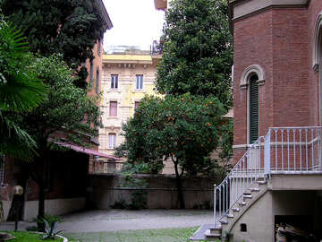 A cozy Italian courtyard with ladder №329