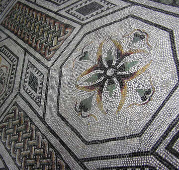 Ancient mosaic (a flower and pattern)  №302