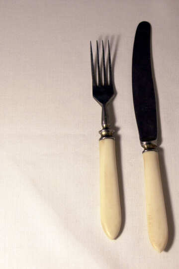 The knife and fork. Old with white bone handle.