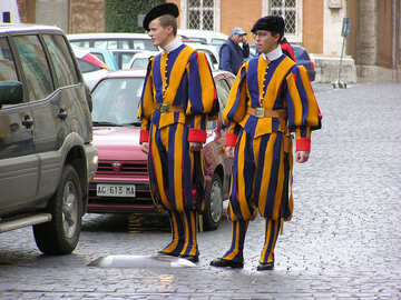 The Swiss Guards at the Vatican pavement