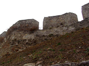The outer wall of the ancient castle on the defensive rampart. №347