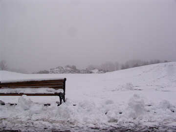Winter misty landscape with bench №399