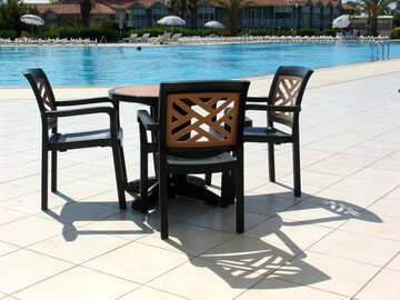 Table and chairs by the pool №257