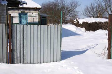 The gate of corrugated metal, half stolen. №754
