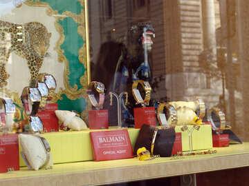 A shop window Balmain Swiss watches in Geneva. №451