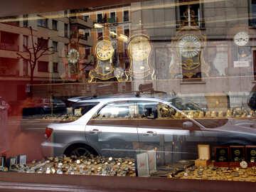 A shop window of Swiss watches in Geneva.