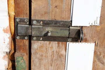 Gate metal on wooden barn door №743