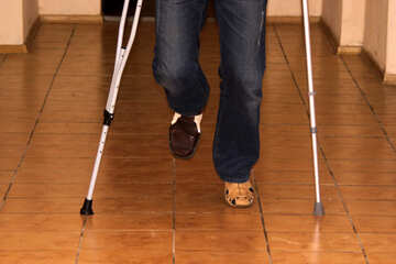 A man in cast on crutches №907