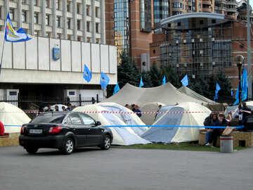Anhänger der Partei der Regionen Protest gegen Messegelände №620