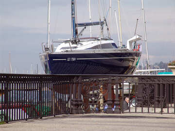Hsin luxurious yacht on the slipway for wrought fence №446
