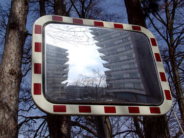 Old model homes reflecting in the mirror for cars №369