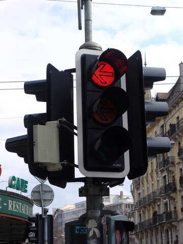 Red arrow to the left at the main traffic lights  №397