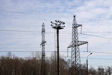 High-voltage wires and lighting mast №935