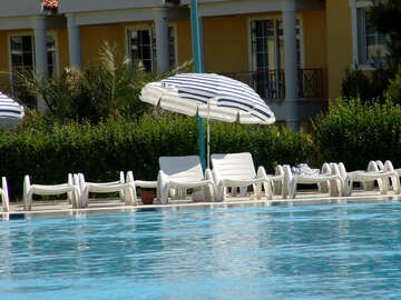 Two lounger under an umbrella at the pool №256