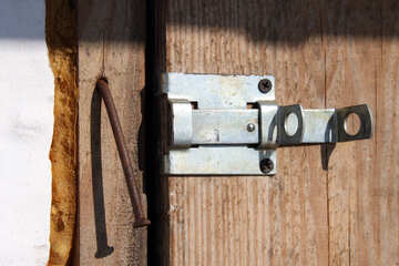 Gate of light metal with wooden barn door №747