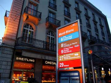 Zeiger zu Bus Anschlag Quay Mont Blanc. Genf Die Schweiz. №376