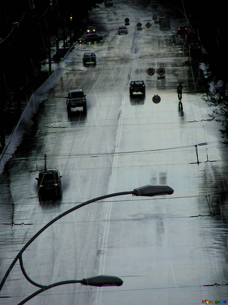 Città strada in pioggia (Penombra) №304