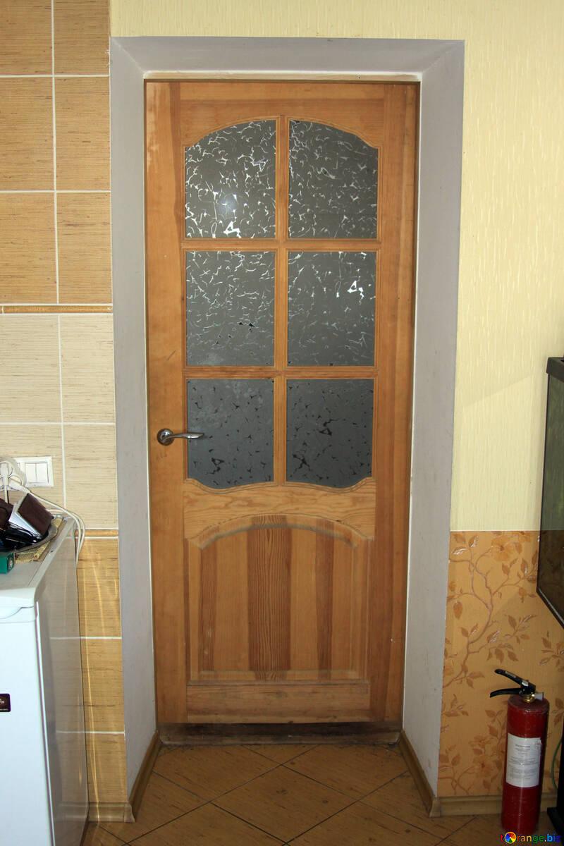 Wooden kitchen door with fire extinguisher №787