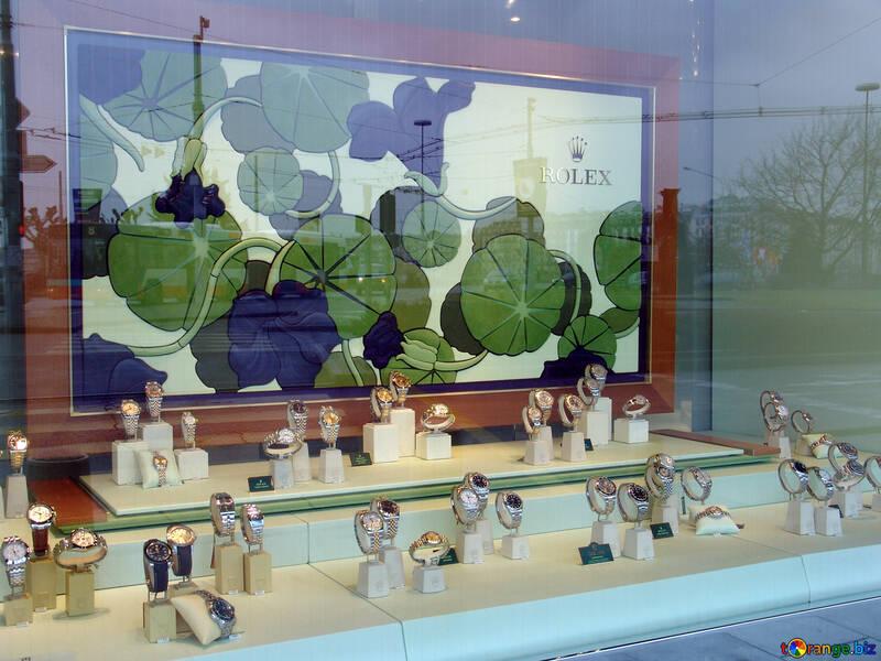 A shop window Swiss watch company Rolex in Geneva. №389