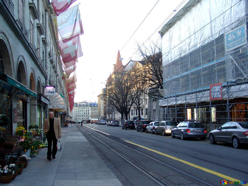 Street with the tramway and the house decorated with flags №373