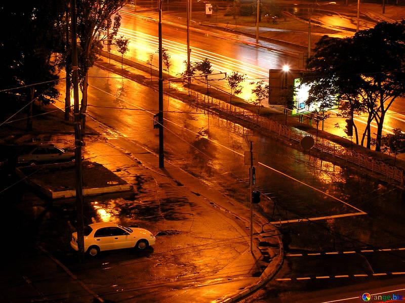 Night crossroads during rain №212