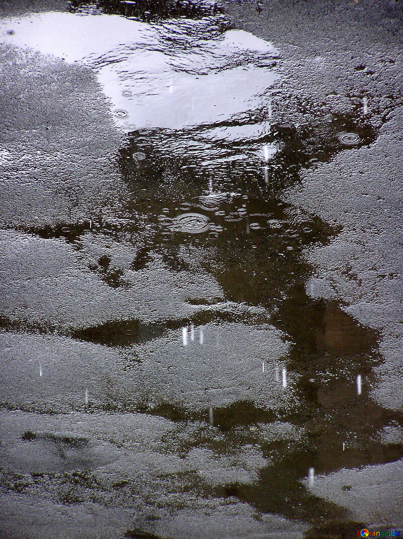 Pozzanghera sul marciapiede con gocce di pioggia №290