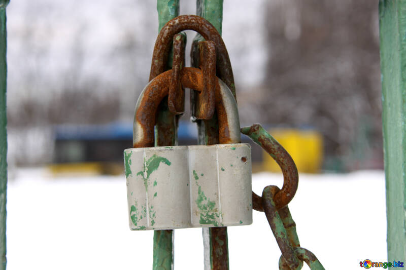 Lock mounted on the background blurred trolley №518