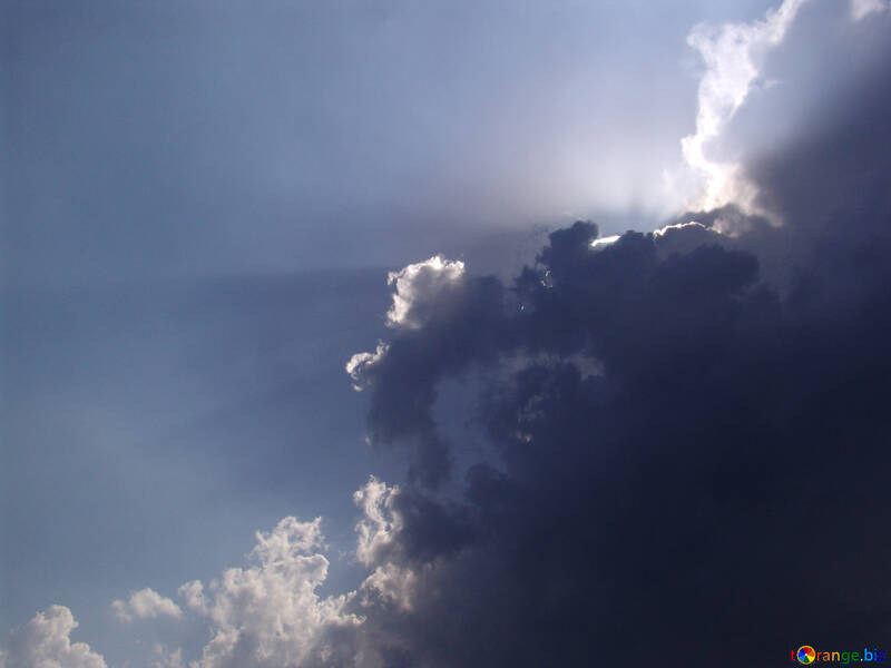 The sun`s rays from behind the clouds №871