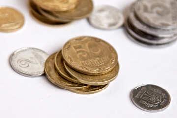 Ukrainian coins on white background №1563