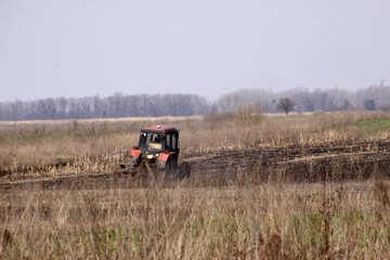 Frühling Feld Arbeit Traktor Feld №1266