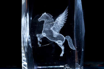 Pegasus. Three-dimensional laser graphics in the glass. №1313
