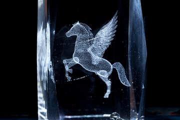 Pegasus Dreidimensional Laser Grafiken in Glas. №1313