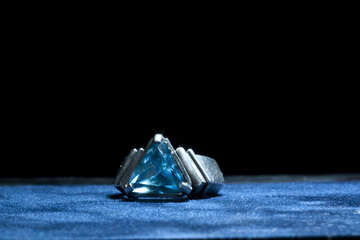 The ring with triangular blue stone. №1320