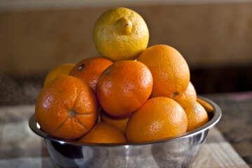 Oranges, tangerines, lemons in bowl on the table №1173