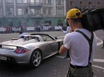 Videographer records Porsche  Carrera  GT №1163