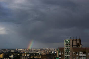 The storm clouds and rainbow over the city №1688