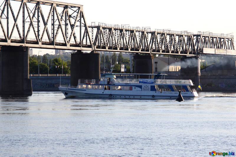 A ship passes under the bridge №1879