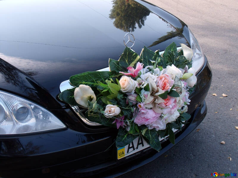 Wedding Decorations For Cars Bouquet At Car Hood Car 10090