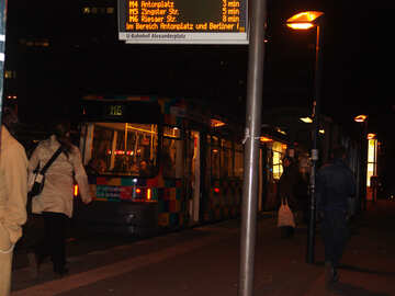 Tram stop at night №11730