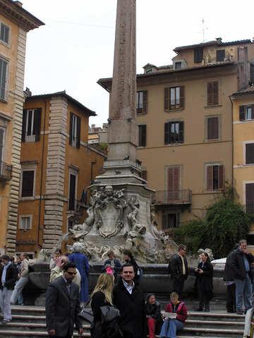 Tourists near the fountain.Rome. №12607