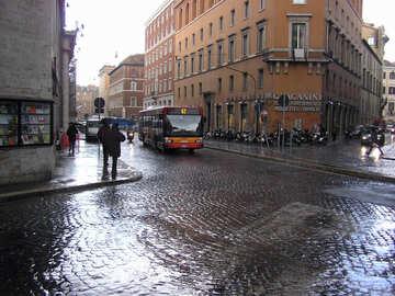 Bus under rain №12430