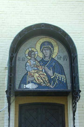 Mosaico sopra l`ingresso alla Chiesa №12805