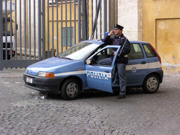 A police officer and police car №12348