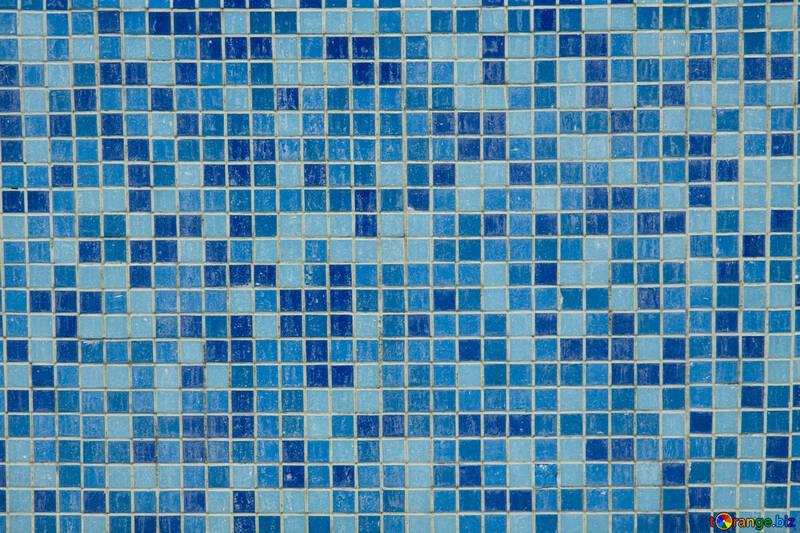 Текстура. Голубая мозаичная плитка в ванну. №12772