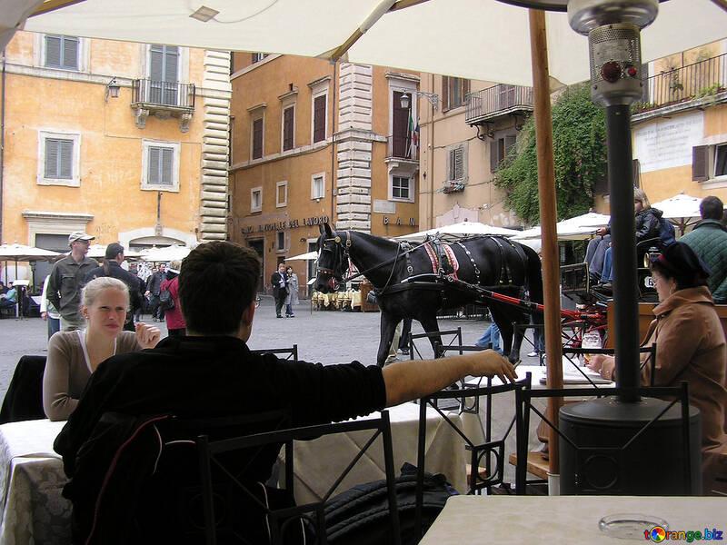 Menschen in der Straße cafe №12454